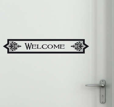 Classic welcome sign wall sticker with traditional letters inside an ornate text box, perfect to embellish any door in your home or business. Provide a warm atmosphere for people entering your establishment with a timeless design available in 50 different colours.
