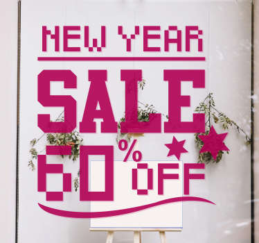 Pixel New Year sale sticker that is designed in pink for your shop. This product contains text, little stars and it can be in any size of your choice.