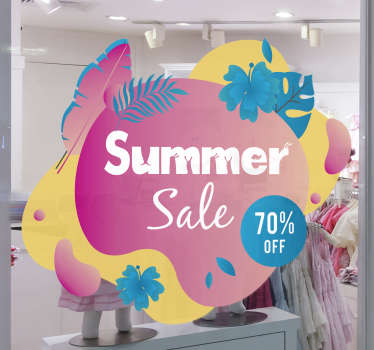 Summer sale set with flower and text sticker for your shop window and any mirror surface. This product is very attractive and you can personalise it.