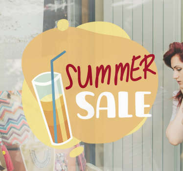 Summer sale items  sticker on your shop window to promote your business for customers. This product is a beautiful  design of what summer looks like.