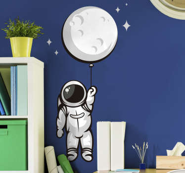 Astronaut in space  wall sticker for your kids living room and play room. This is a design of an astronaut in space and it can be in any size you want.