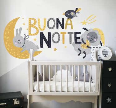 Adesivo da parete bambino buonanotte per la cameretta e per aiutarlo a dormire bene. Design realizzato con uccelli, conigli, stelle a colori.