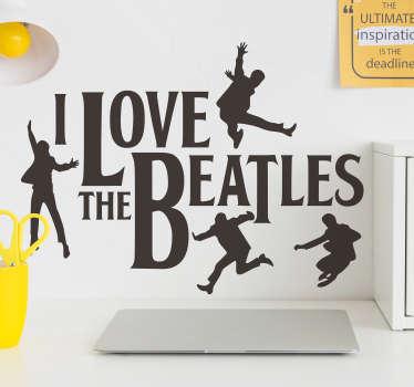 ビートルズのキャラクターのウォールステッカーデザインは、テキストと黒い色の人で作成され、壁に似合い、サイズを選択できます。