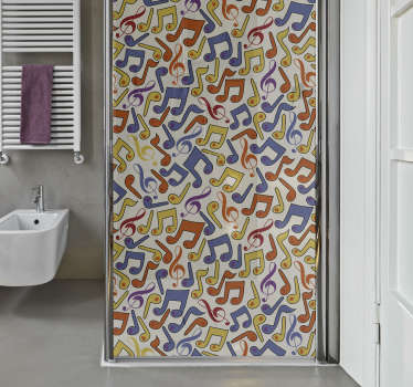 Music note shower door wall sticker for your bathroom, to make you feel good for the time you spend in it. Enough of boring bathrooms.