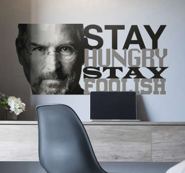 Steve jobs film character wall sticker for inspiration. This high quality product is created with the text and character image if Steve job.