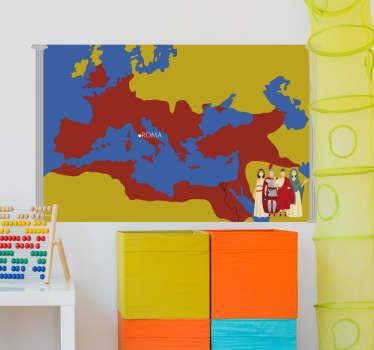 Adesivo da parete con mappa dell'impero romano che si adatterà perfettamente alla tua parete di casa, nel tuo salotto e persino nella tua camera da letto.