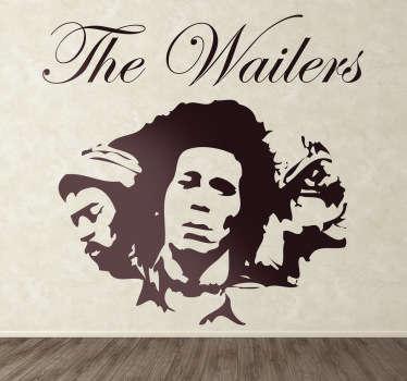 Adhesivo  de la banda de reggae creada por Bob Marley, cantante jamaicano famoso por su música y compositor de exitosas canciones.