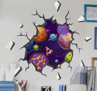 Colourful 3D planet space wall sticker for your home You can have this displayed in your living room, bedroom and bedroom.You can have it in any size.
