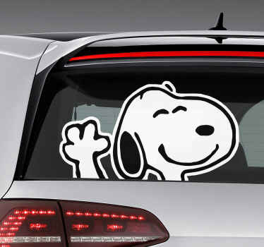 Snoopy character vehicle sticker that can be used on the car and vehicles. This product is a cartoon funky character and you can choose your size.