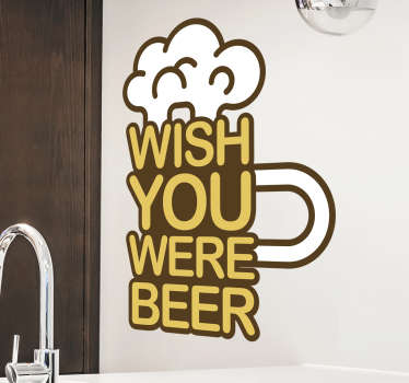 Beer drink with text wall sticker designed to have in your bar or any surface in your home. This product is a design of beer with text with quote.