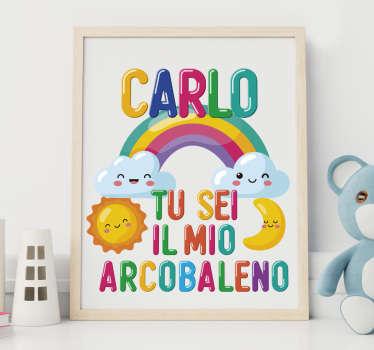 Personalizza la cameretta di tuo figlio con questo adesivo per bambino sei il mio arcobaleno con nome. Questo design renderà davvero felice tuo figlio!