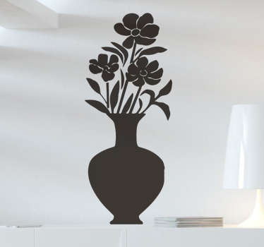 A  flower pot wall decal for your home. This product is a design of a flower inside a vase in a black  unique colour that you will love on your wall.