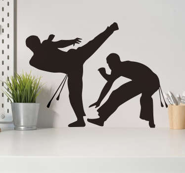 Copoeira wall art sticker. A design of the martial art originating from Brazil created in a silhouette form. You can have it in any size you want.