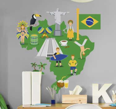 Autocolante infantil mapa do Brasil onde estão representados vários símbolos alusivos à cultura brasileira.