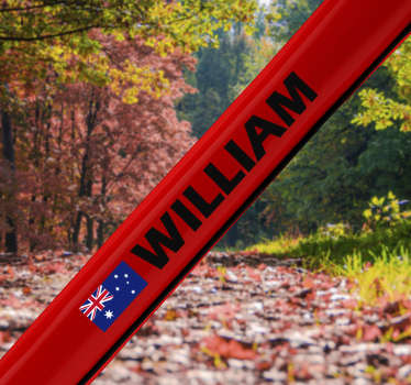 Australia bike cycling decal design of an Australia flag with a Customisable name on red background and your kid will love to use it on the bike.
