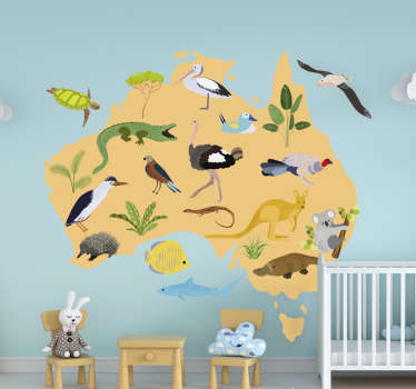 Australia kids world map wall sticker design of animals on the various part of the world.Design contains animals like reptiles, birds,plants and fish.