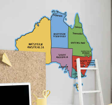 Australian world  Map wall sticker designed in beautiful colour  showing  its various cities on the map. This design will be nice for your kid to learn.