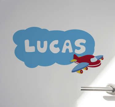 Vinilo infantil para puerta con dibujo de avión y nube y con nombre diseñado en un hermoso color que a su hijo le encantará ¡Envío a domicilio!
