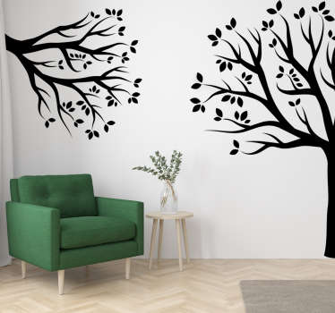A corner tree plant wall art sticker that will be nice in your home.This tree design is in silhouette style placed on separate corners for uniqueness.