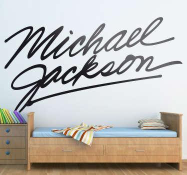 Deze muursticker omtrent een elegante handtekening van Michael Jackson. Ideaal voor grote fans van ´The King of Pop´!