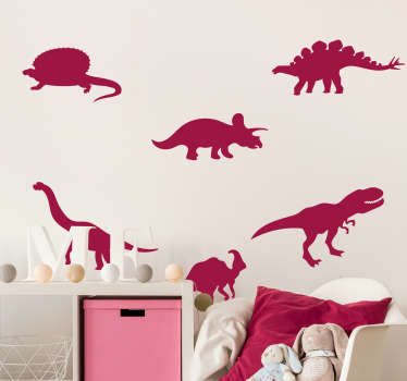 Dinosaurs in Pack wall decor for your child's room to be amazed and excited about this extinct animal design. This product can be size to your choice.