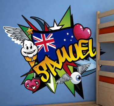 Excites your child with this product of graffit Australian flag in his bedroom. This is the design of the Australian flag the bird name character.