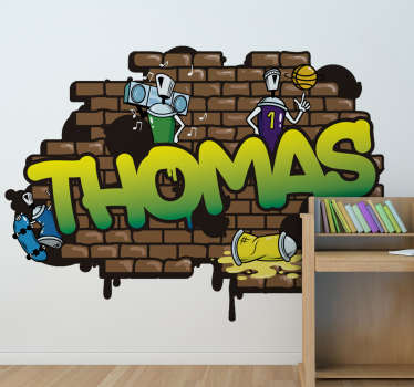 A personalized  brick background graffiti sticker with children cartoon atmosphere. This design is created with bricks in brown color,robot and music.