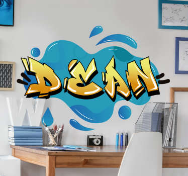 Graffiti name splash texture urban sticker design in blue background with the name Dean is all you need to make that wall a difference in your home.