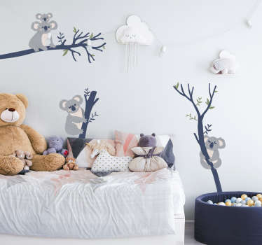Koala and tree wild animal wall sticker design created with bear and cartoon characters for kids on the tree .Will be nice for kids bedroom.