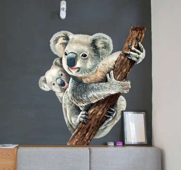 A koala wild animal wall sticker designed with the koala and its little one on a tree with the mother koala holding tight to the tree for safety.