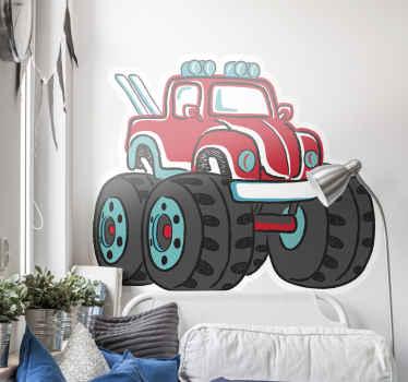 Een monster truck auto muurzelfklevende sticker ontwerp van een truck en zijn zware grote banden in kleuren die leuk zijn in je kinderkamer. U kunt uw maat kiezen.