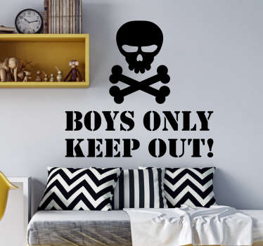 An skull boy only illustration sticker that says 'boys only keep out' This can be a very fun for your kid to keep the girls out of the room .