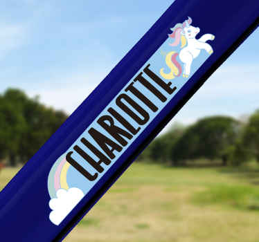 Customisable unicorn bike sticker for for child's bike to have fun with. This product is a design of a unicorn with colours.