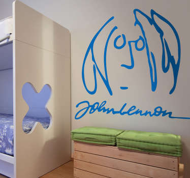 Adhesivo con ilustración del cantante de The Beatles: John Lennon, uno de los grandes mitos de la música. Esta caricatura pertenece a su famoso álbum Imagine.