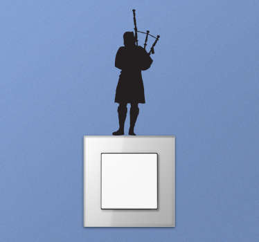 A back pipe instrument player wall sticker silhouette on your wall in the living room, bedroom, office or even your kitchen. Design of high quality.