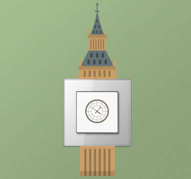 The Big Ben London wall switch sticker design of the great striking bell of west minister of London. This design is finished in high quality matte.