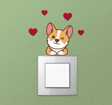 Corgi light switch wall sticker design of cartoon character with love symbol in red around it This design will be nice in your kid bedroom .