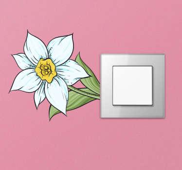 Narcis bloem muurzelfklevende sticker ontwerp van de narcis europese plant, ontworpen in zijn mooie fel gele kleur met de bloemblaadjes in witte en groene bladeren.