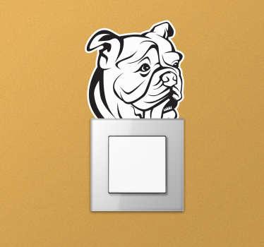 Un vinilo para interruptor de bulldog inglés en forma de dibujo artístico que se decorará de forma exclusiva tu casa ¡Envío a domicilio!