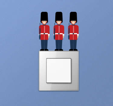 Design of the queen's guard wall sticker of three guards in uniform with their guns.This design will be nice on any flat surface.