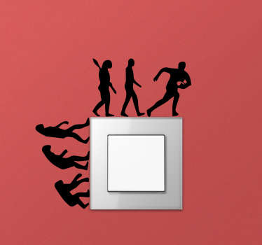 A rugby evolution switch sticker that describes the sport evolution stages in multiple of silhouette illustration style from primitive to civilised.