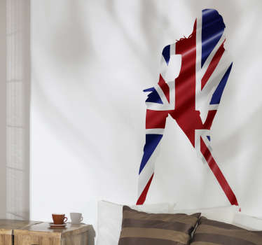 A sexy adult girl union jack wall sticker. A design of the UK flag in an adult lady silhouette style. This product is finished in high quality matte.