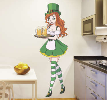 A sexy Irish waitress girl adult sticker design of a beautiful barbie in green dress, long blond hair with a cap and wearing stripe socks.