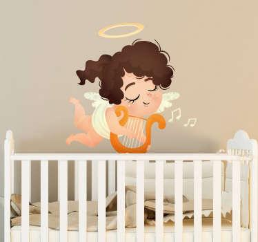 Sticker meisje harp