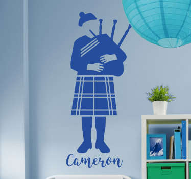 Sticker illustrating a happy musician with a bagpipe! Fantastic decal to decorate your child´s room!