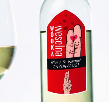 Personalizowana naklejka ślubna na butelkę wódki na wesele. Wszyscy goście będą zachwyceni tą niepowtarzalną dekoracją!