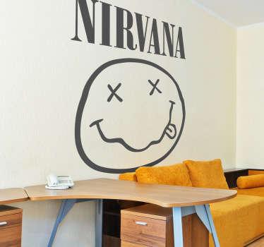 Een muursticker met het logo van de Amerikaanse Grunge groep Nirvana, met Kurt Cobain in de hoofdrol.