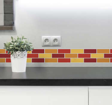 A warm tones border wall sticker for bathroom and kitchen. This design is in a block tiles format to create a well defined surface for your wall.