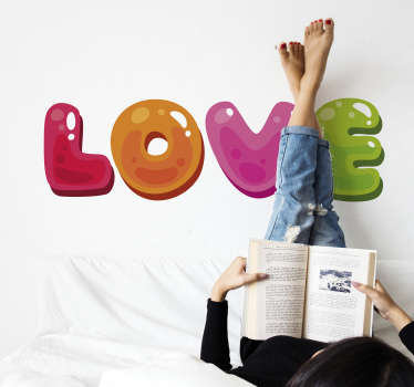 Love multicoloured love wall sticker design created in different colour text content 'love'to fill your special space with nice energy. Easy to apply.