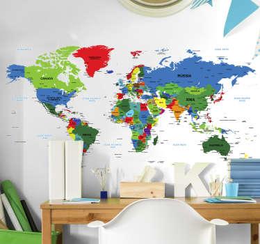 Vinilo mapamundi infantil en catalán con países y ciudades principales para decorar la habitación de tu hijo mientras aprende ¡Envío gratuito!